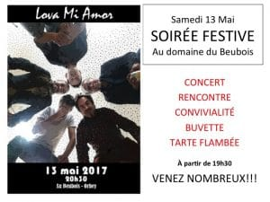 Soirée festive et concert 13 mai Beubois